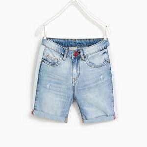 Zara boys distressed light denim shorts
